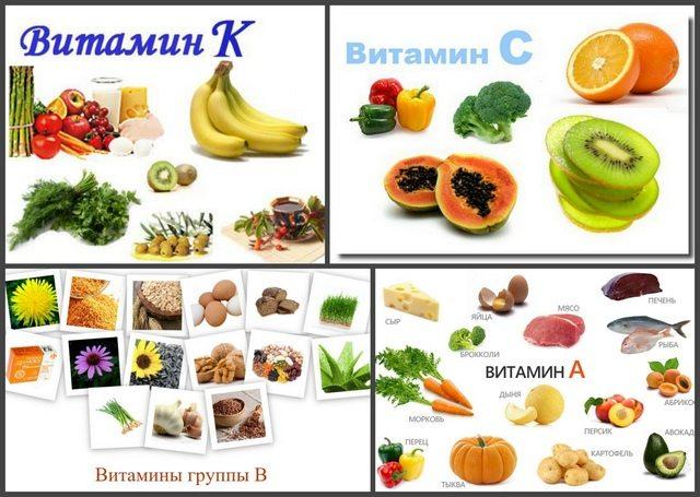 Продукты содержащие витамины С, К, А и В