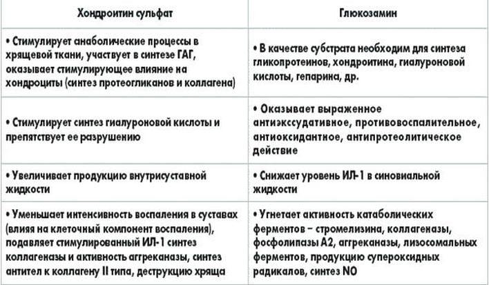 Основные компоненты хондропротекторов